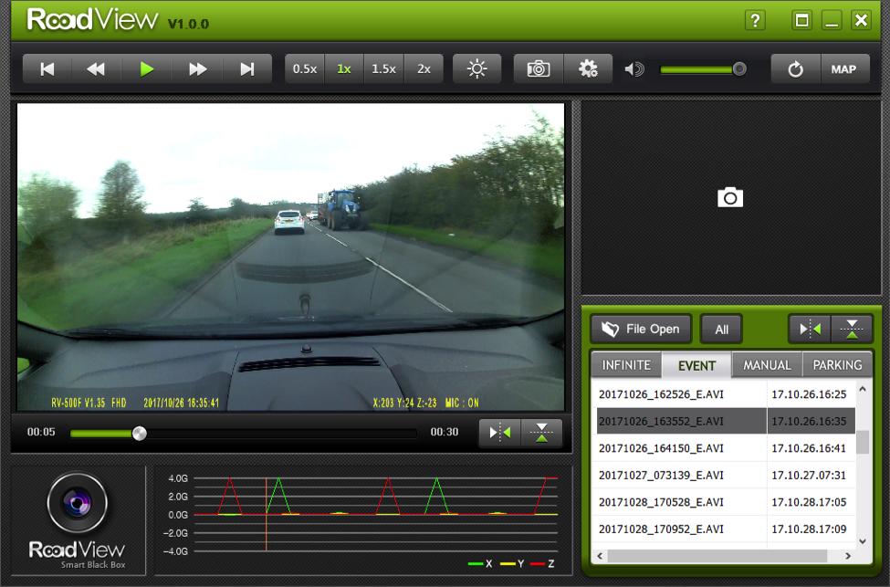 Roadview dashcam software