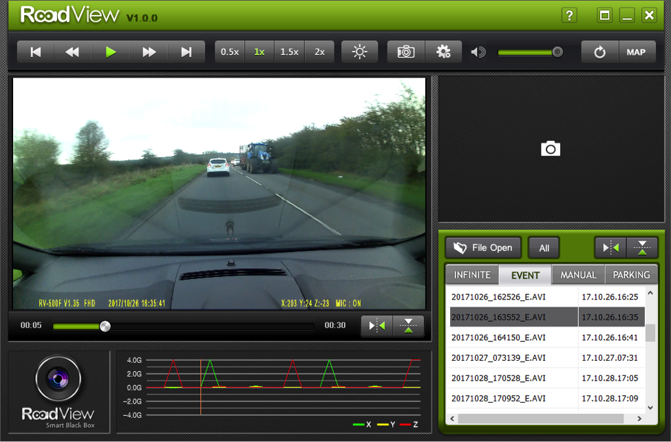Roadview dashcam software